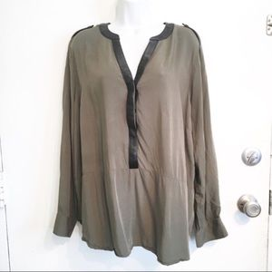 Lane Bryant Plus Size Olive Leather Trim Top